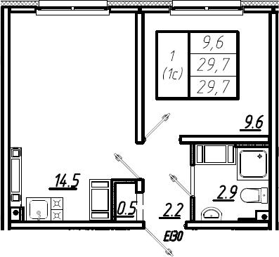 1-к.кв, 29.7 м²