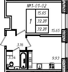 1-к.кв, 32.28 м²