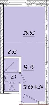 Студия, 14.8 м²