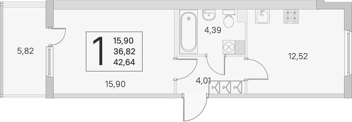 1-к.кв, 36.82 м², 3 этаж