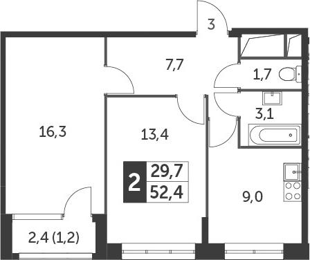 2-комнатная, 52.4 м²– 2