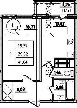 1-к.кв, 43.65 м²