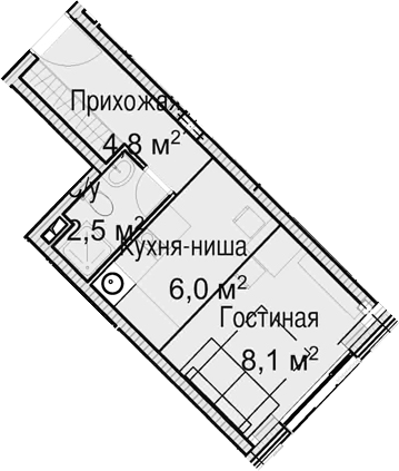 Студия, 21.4 м²– 2