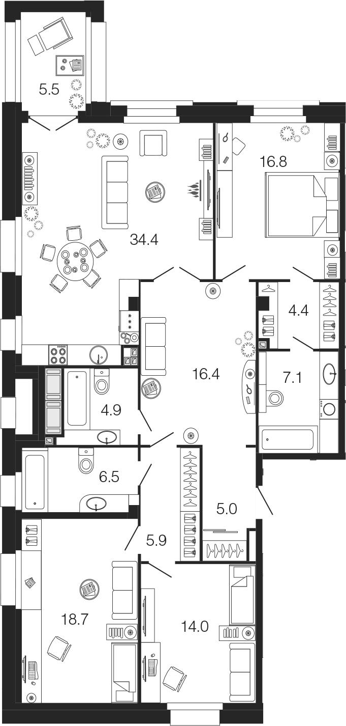 4Е-к.кв, 134.1 м²