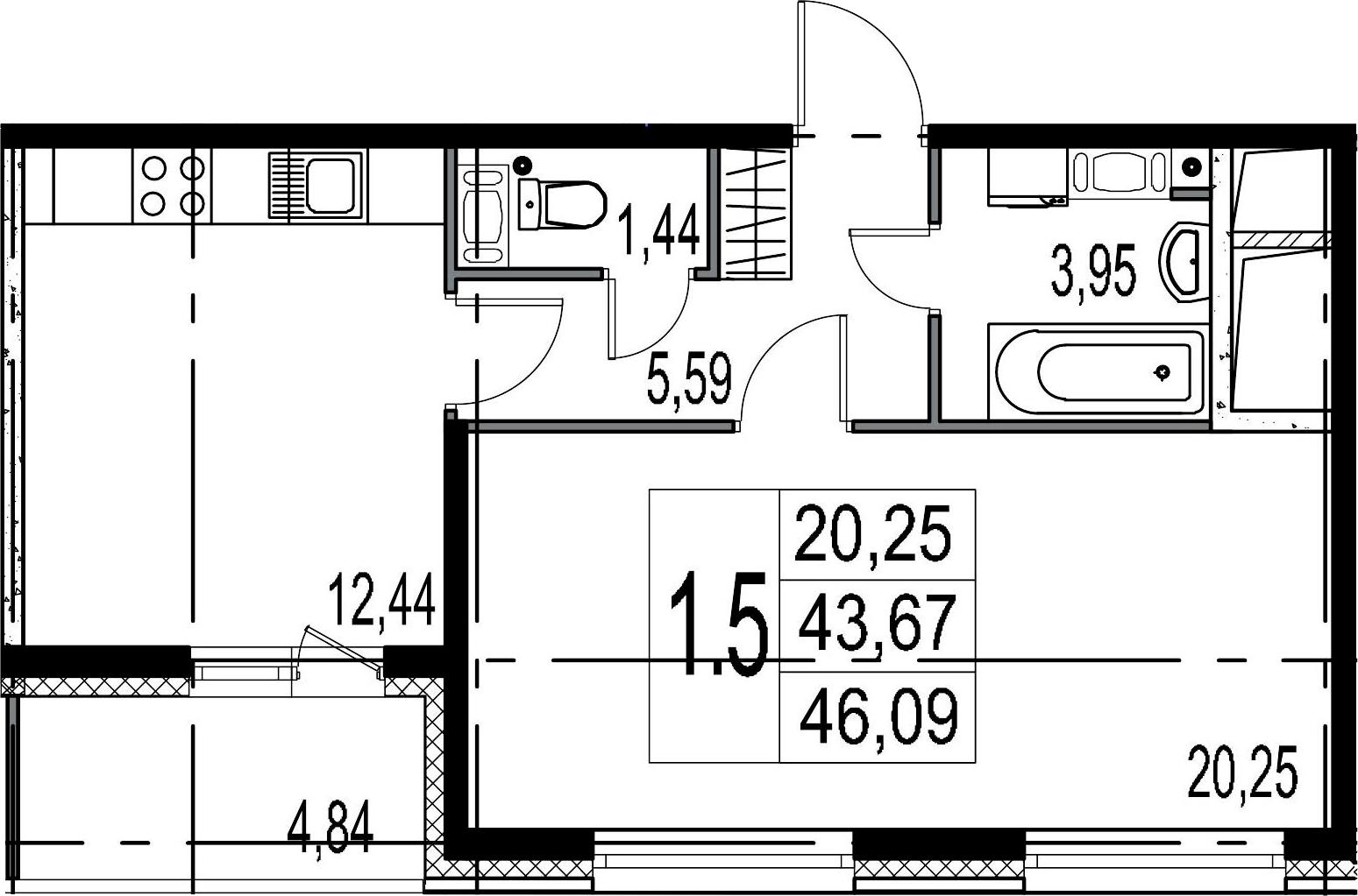 1-комнатная, 43.67 м²– 2