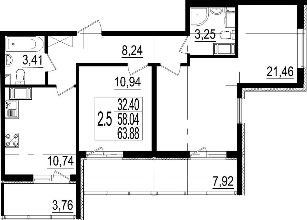 2-к.кв, 63.88 м²