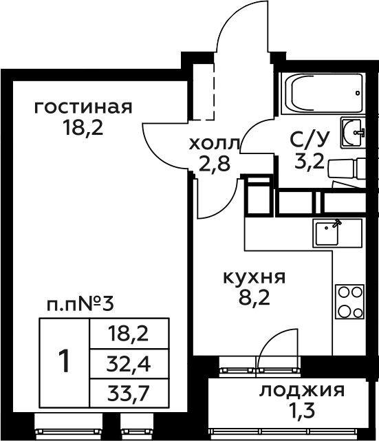 1-комнатная, 33.7 м²– 2