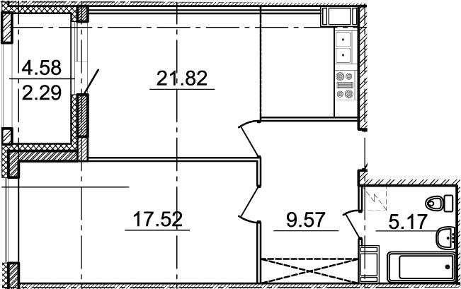 2Е-комнатная, 54.08 м²– 2