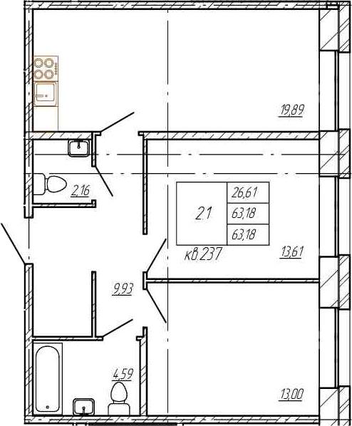 3Е-комнатная, 63.18 м²– 2