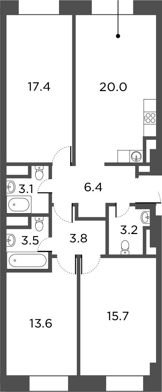 4Е-комнатная, 86.7 м²– 2
