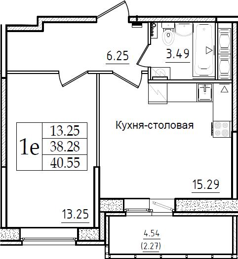2Е-комнатная, 40.55 м²– 2