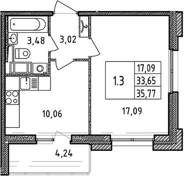 1-к.кв, 33.65 м²