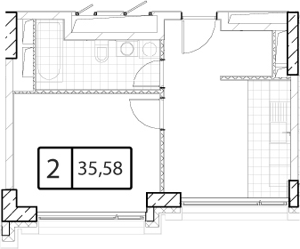 Своб. план., 35.58 м²