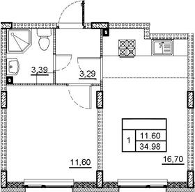 2Е-к.кв, 34.98 м², 1 этаж