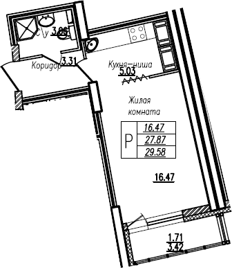 Студия, 29.58 м²– 2