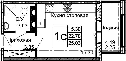 Студия, 27.28 м²