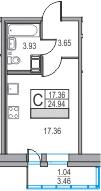 Студия, 24.94 м², 13 этаж
