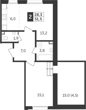 2Е-к.кв, 51.5 м², 12 этаж