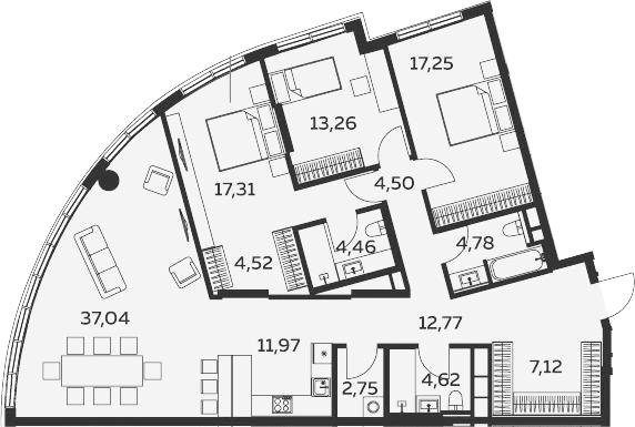 4Е-комнатная, 142.35 м²– 2