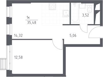 1-к.кв, 35.48 м²