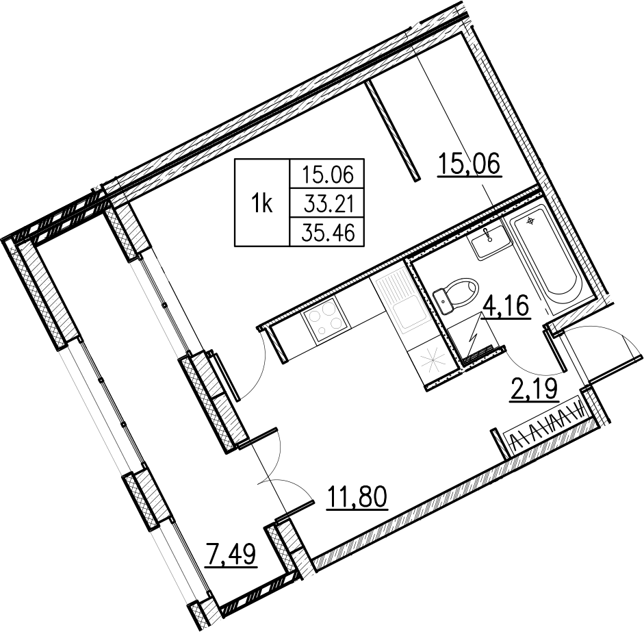 1-комнатная, 35.46 м²– 2