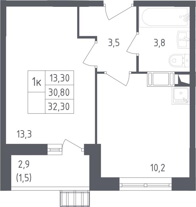 1-к.кв, 32.3 м²