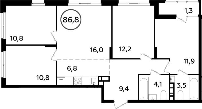 5Е-к.кв, 86.8 м²