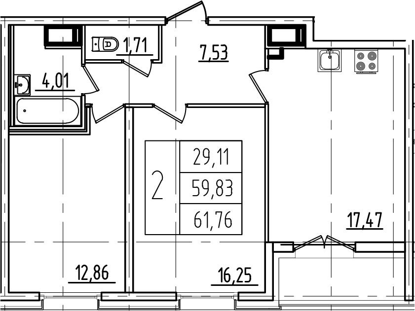 3Е-к.кв, 61.76 м²
