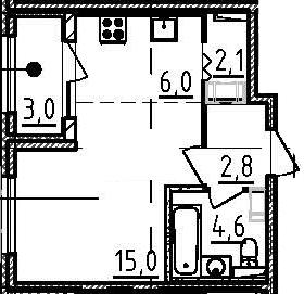 Студия, 32 м², 2 этаж
