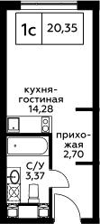 Студия, 20.35 м², 21 этаж