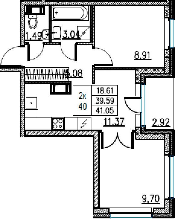 2-комнатная, 41.05 м²– 2