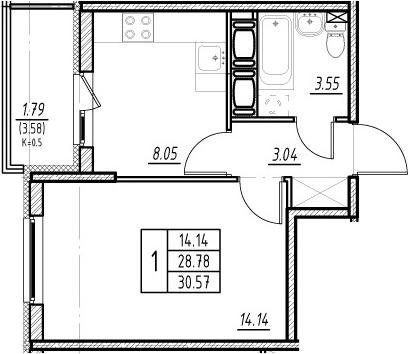 1-к.кв, 28.78 м²