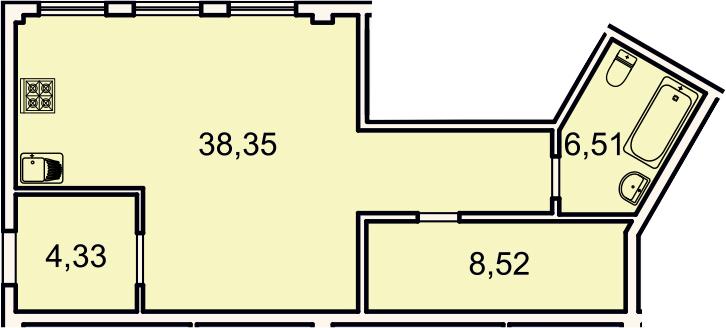 Студия, 57.7 м²– 2