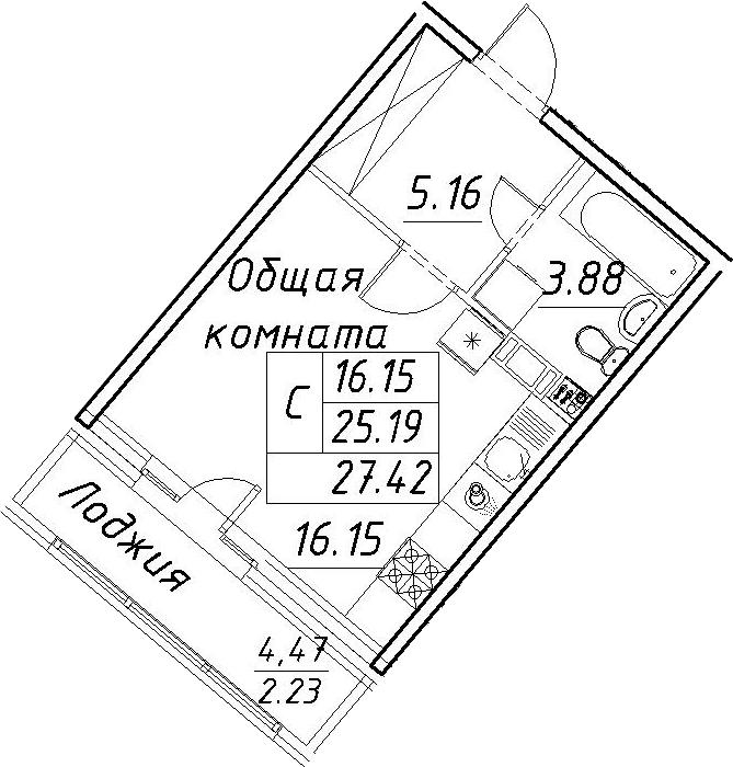 Студия, 27.42 м²– 2