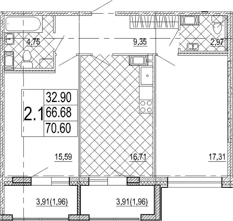 3-к.кв (евро), 79.74 м²