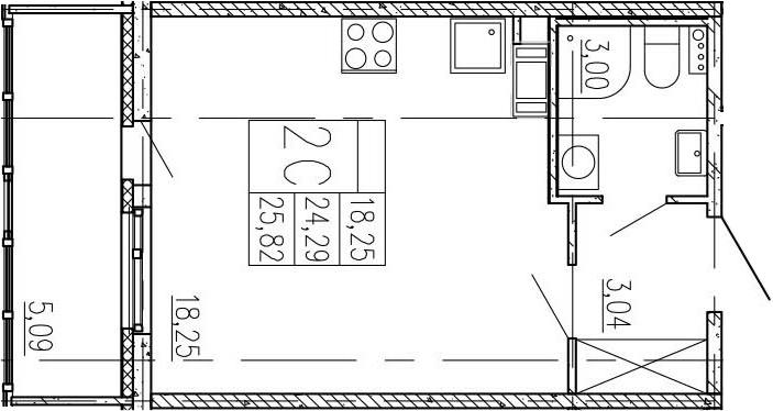 Студия, 24.29 м²