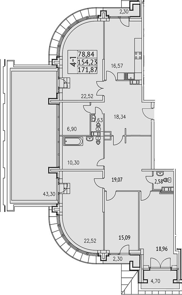 4-к.кв, 216.75 м²
