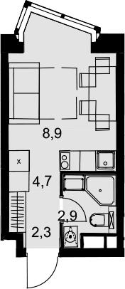 Студия, 18.8 м²– 2