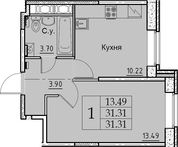 1-комнатная, 31.31 м²– 2