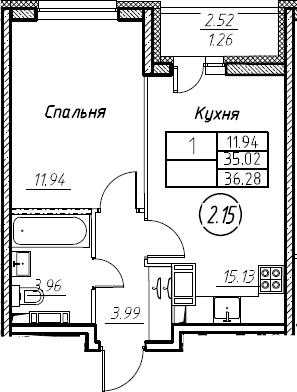 2Е-к.кв, 36.28 м², от 3 этажа