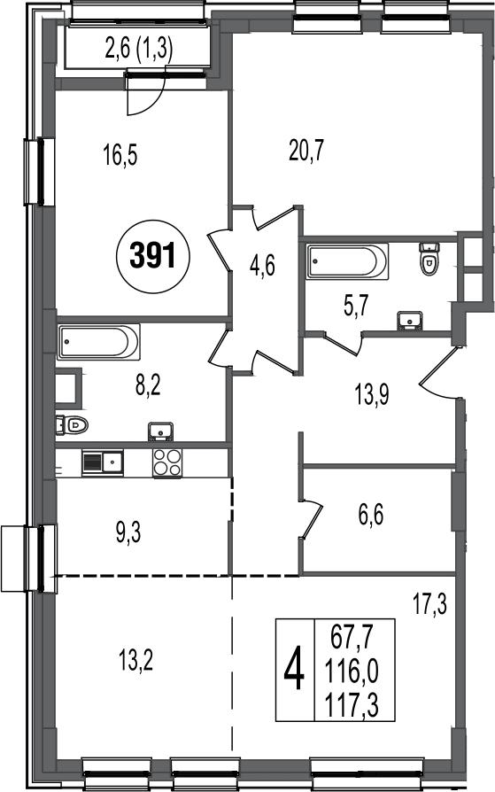 4-к.кв, 118.6 м²