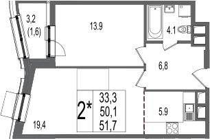 2Е-комнатная, 51.7 м²– 2