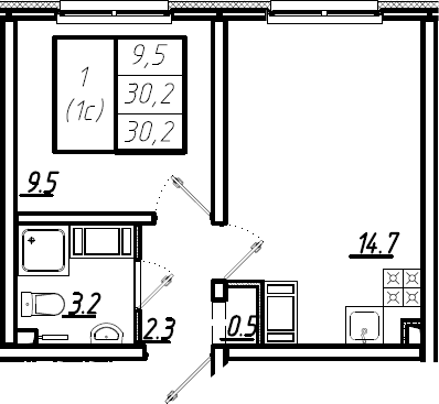 2Е-к.кв, 30.2 м², от 11 этажа