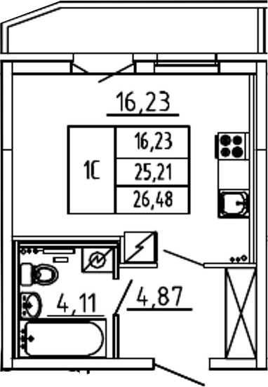 Студия, 29.44 м²
