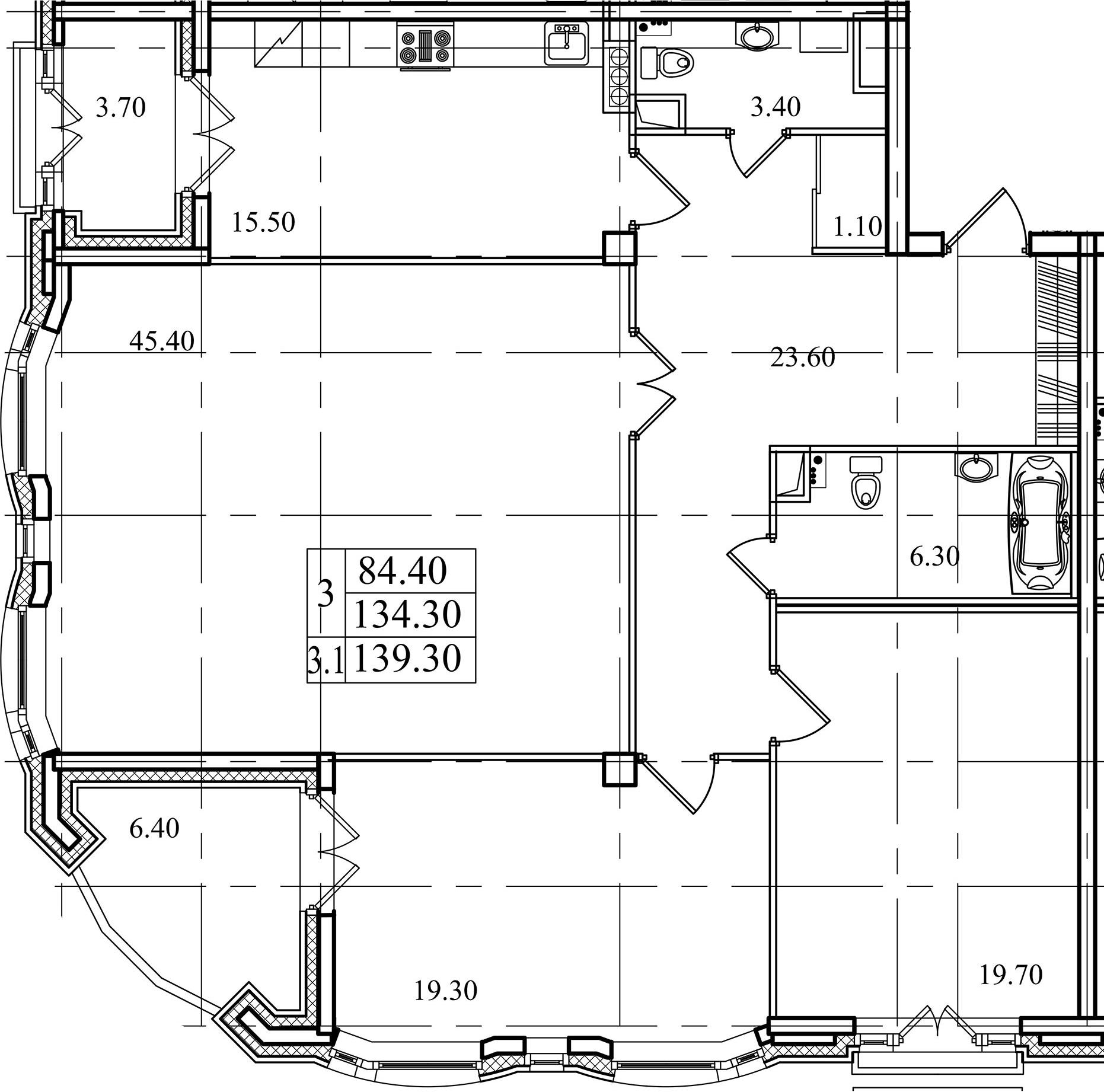 3-комнатная, 134.3 м²– 2