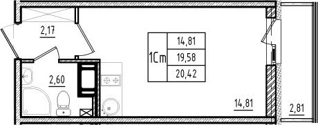 Студия, 19.58 м²– 2