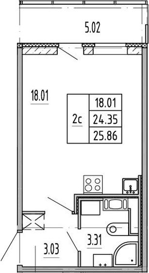 Студия, 24.4 м², 5 этаж