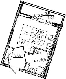 Студия, 22.41 м², 2 этаж