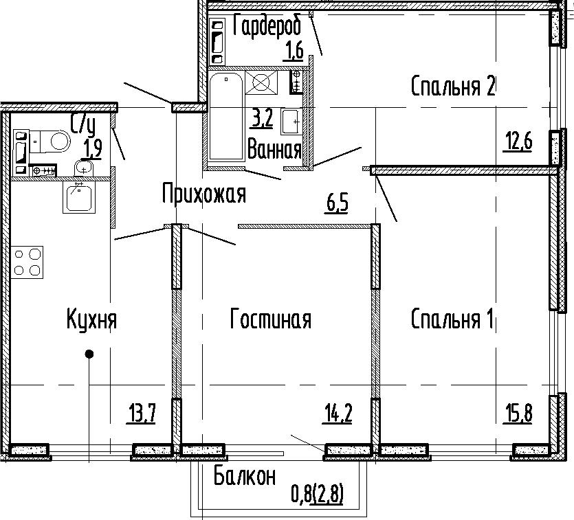 3-комнатная квартира, 69.5 м², 2 этаж – Планировка
