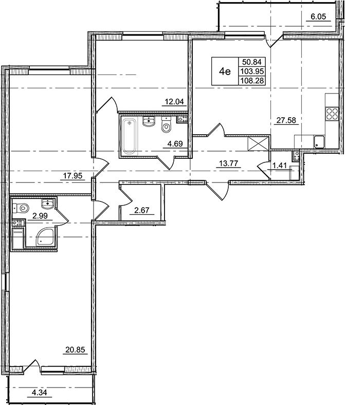 4Е-к.кв, 103.95 м²